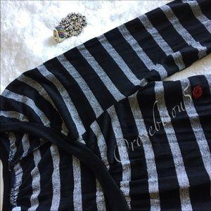 SPLENDID Striped Shirred Scoop Neck Long Sleeve